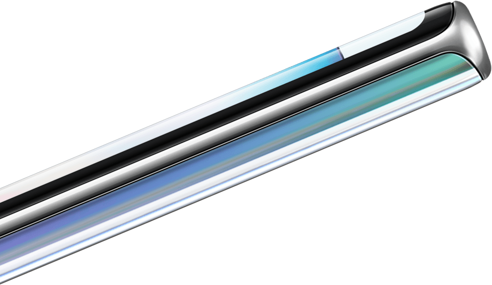 Close up of S Pen ejected from Galaxy Note10 plus. On scroll, the S Pen and Galaxy Note10 plus move further from each other to reveal text