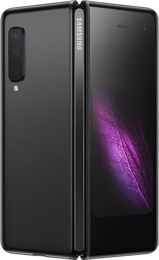 Rear-view Cosmos Black Samsung Galaxy Fold (Silver Hinge) partially unfolded - rear  triple cameras & purple graphic display