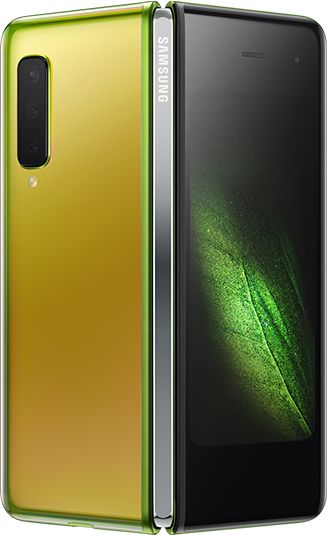 Rear-view Martian Green Samsung Galaxy Fold (Silver Hinge) partially unfolded - rear  triple cameras & green graphic display