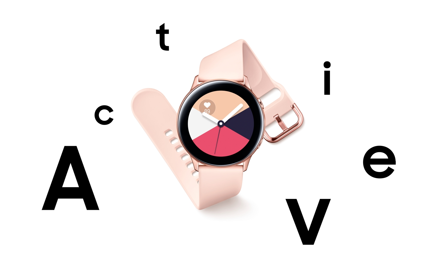 "A rose gold Galaxy Watch Active seen from the front and set against a white background with the word ""Active"" broken up around the product."