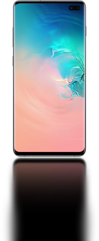 "Galaxy S106.1"" Galaxy S10 plus seen from the front with an abstract coral  and blue gradient graphic onscreen e1e5bdc140421"