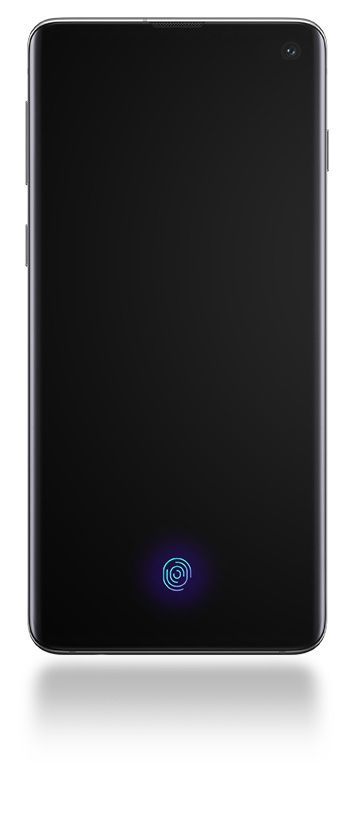 Galaxy S10 seen from the front with a black screen and a line pointing out Face Recognition and another pointing out Ultrasonic Fingerprint.