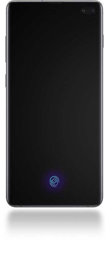 Galaxy S10 plus seen from the front with a black screen and a line pointing out Face Recognition and another pointing out Ultrasonic Fingerprint.