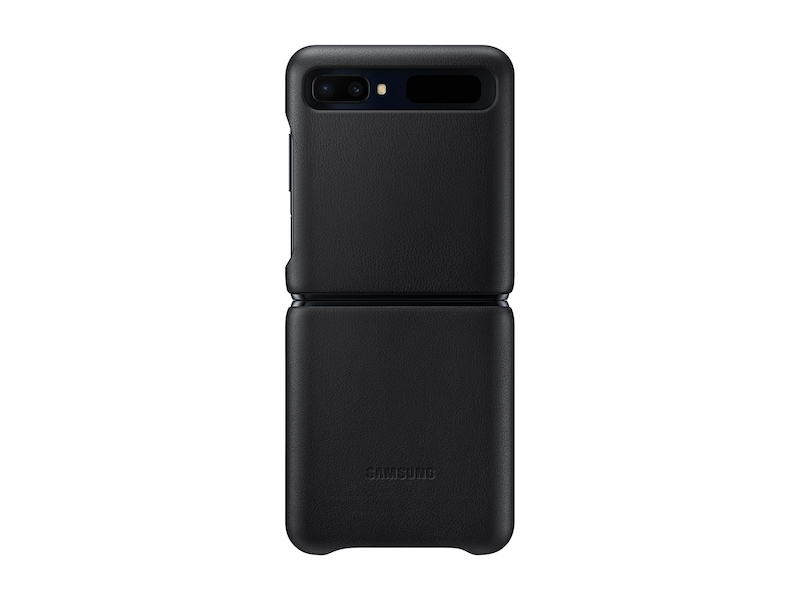 Galaxy Z Flip Leather Cover, Black