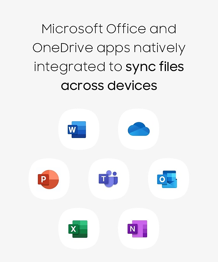 Microsoft Office and OneDrive apps natively integrated to sync files across devices