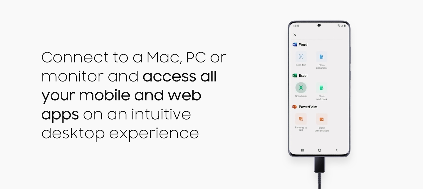 Connect to a Mac, PC or monitor and access all your mobile and web apps on an intuitive desktop experience