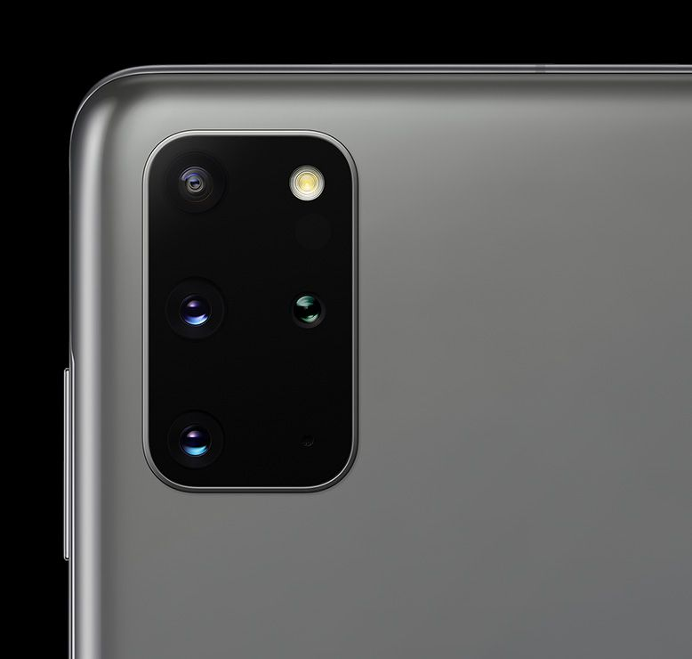 Close up of the rear camera on Galaxy S20 plus in Cosmic Gray