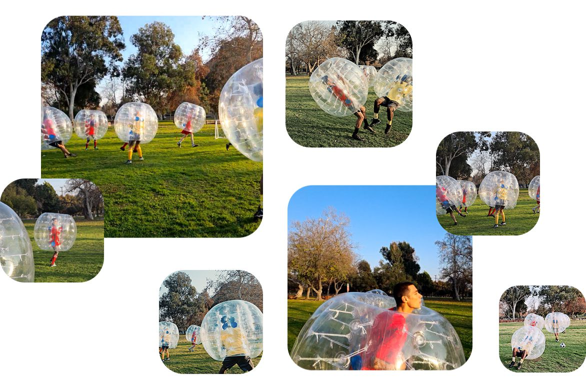 A bubble soccer game. It starts with a man heading the ball, and then two men bumping into each other in the bubbles. The video then changes into several different formats to illustrate the variety of formats Single Take automatically creates
