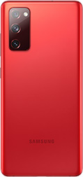 Galaxy S20 FE in Cloud Red seen from the rear