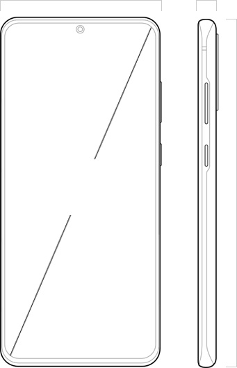 "Illustration of Galaxy S20 plus seen from the front and from the side, with 6.7"" across the Infinity-O Display to denote its dimensions"