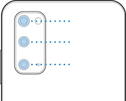 Illustrated close up of Galaxy S20 showing the location of the rear triple camera including 12MP Ultra Wide Camera, 12MP Wide-angle Camera, and 64MP Telephoto Camera