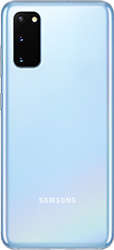 Galaxy S20 in Cloud Blue seen from the rear