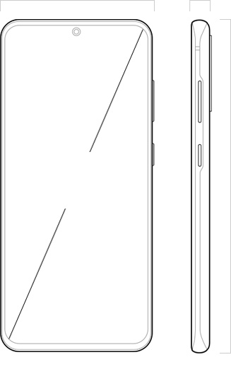 "Illustration of Galaxy S20 seen from the front and from the side, with 6.2"" across the Infinity-O Display to denote its dimensions"