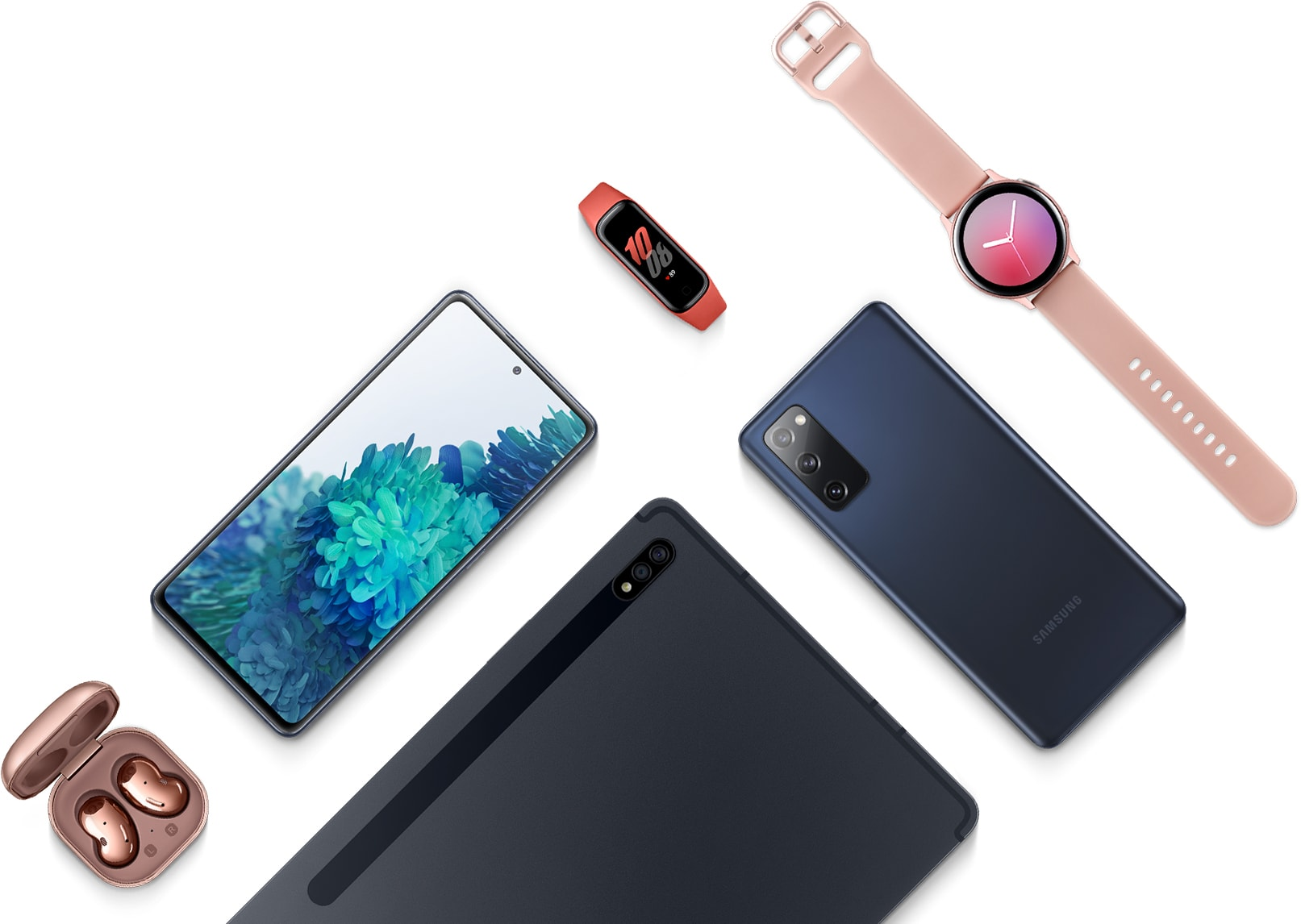 A flatlay with the Galaxy S20 FE 5G in Cloud Navy seen face up, Galaxy S20 FE 5G in Cloud Navy laying facedown, Galaxy Tab S7 in Mystic Black, Galaxy Buds Live earbuds in Mystic Bronze, Galaxy Fit2 in Red, and Galaxy Watch Active2 in Pink Gold.
