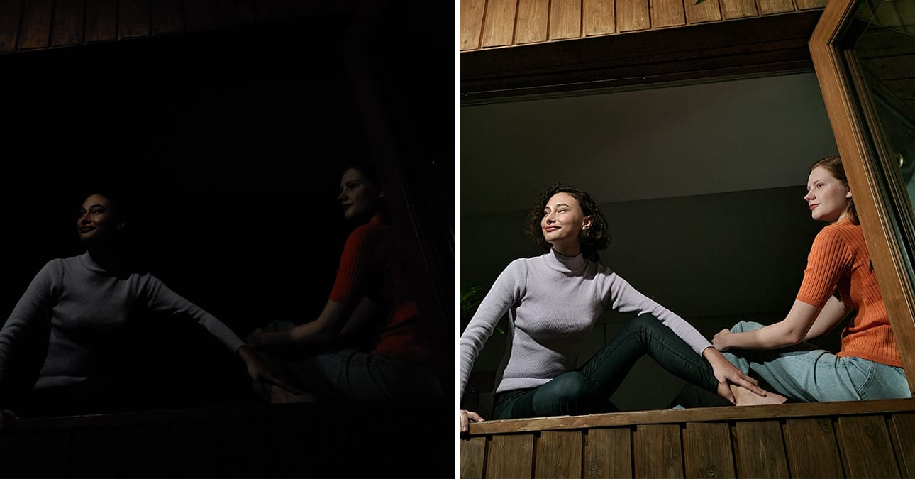 Two women sitting in an open window looking outside. One shot with Galaxy S20 FE 5G without Night mode, and the other shot with Night mode. The image shot with Night mode is clear, detailed, and featuring more color than the other photo.