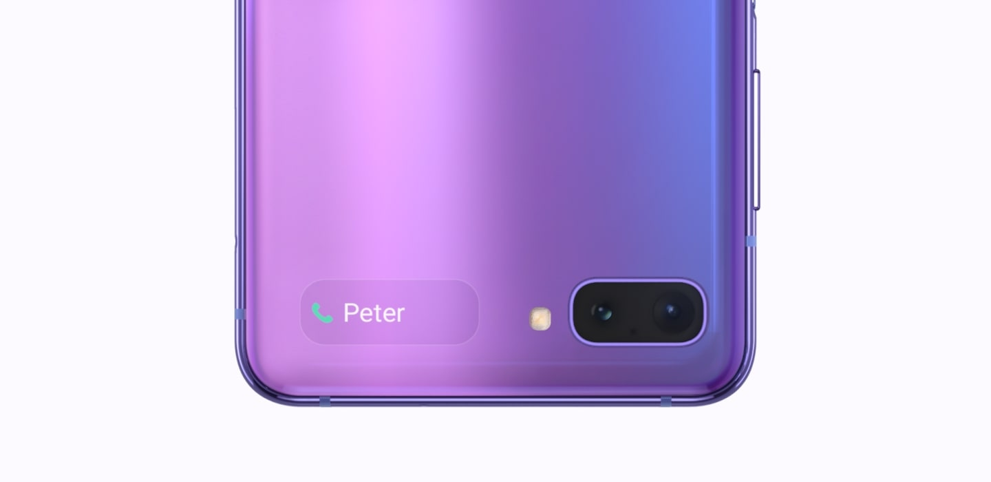 Galaxy Z Flip in Mirror Black showing date and time on the Cover Display. It turns like a clock, swapping to Purple Mirror Galaxy Z Flip with a phone call notification on the Cover Display from Peter