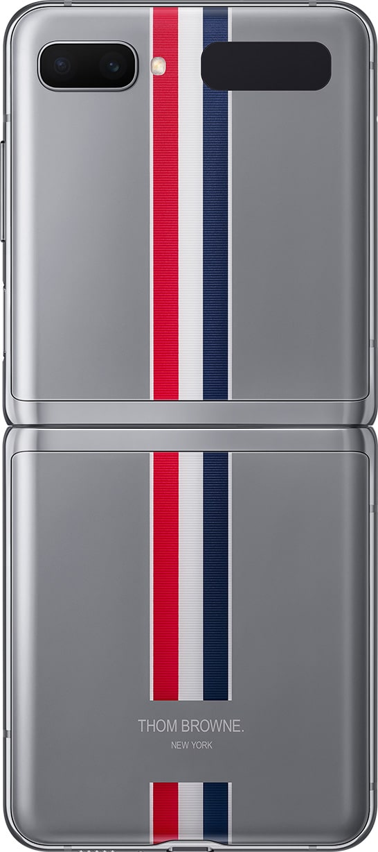 Galaxy Z Flip Thom Browne Edition seen unfolded and from the rear to show the tricolor stripe that goes all the way down the back of the phone