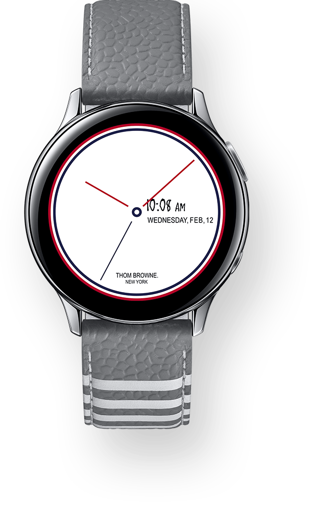 Galaxy Watch Active2 Thom Browne Edition seen from the front, shown with the exclusive watch face and leather strap
