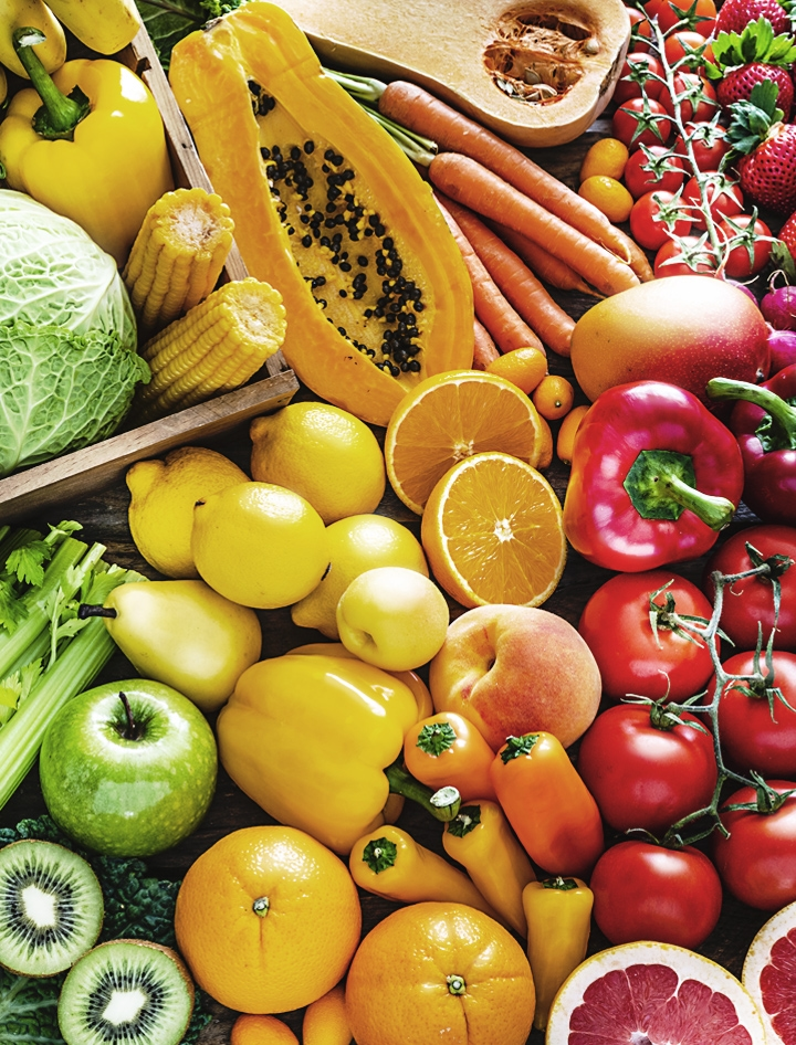 Interactive image of colorful fruits and vegetables on display.